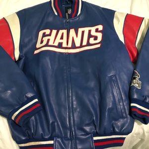 NFL Giants Leather Varsity Jacket